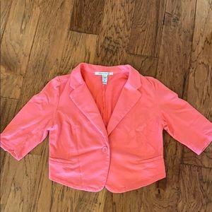 Pink casual cropped blazer jacket